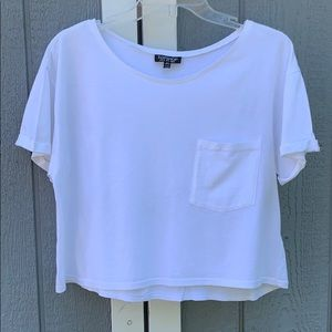 TOPSHOP oversized crop tee, bright white, size 6